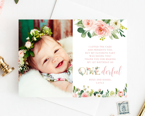 Miss Onederful Thank You Card Template, Thank You Photo Card, Little Miss One-derful Birthday Card, First Birthday, Templett, B09