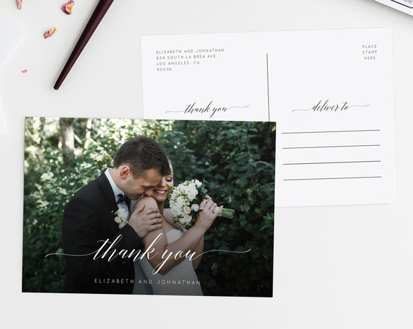 Thank You Photo Card Template, Printable Thank You Postcard, Wedding Thank You Card, Instant Download Editable Template, Templett, W02