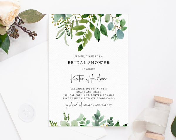Bridal Shower Invitation Template, Printable Bridal Shower Invite, Greenery Bridal Invitation, Bridal Shower Invites, Templett, W48