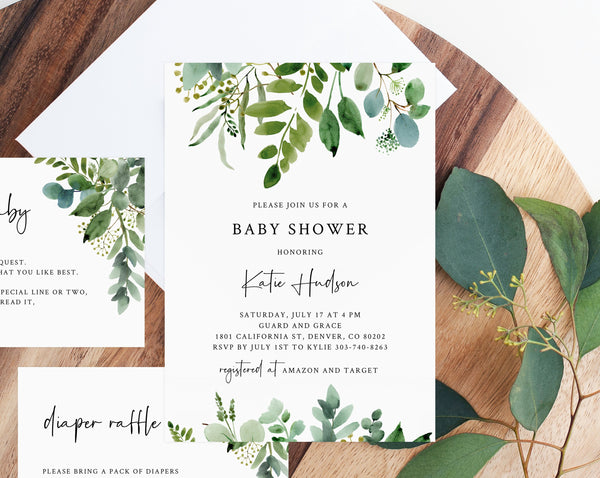 Greenery Baby Shower Invitation Template, Printable Baby Shower Invitation, Baby Shower Invitation, Templett, B48