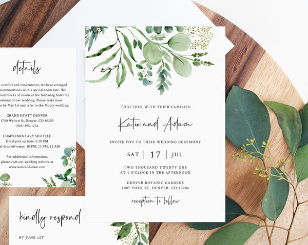 Greenery Wedding Invitation Template, Printable Wedding Invitation Set, Watercolor Eucalyptus Greenery Wedding Invitation, Templett, W48