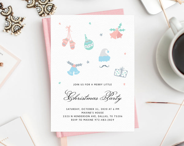 Pastel Christmas Party Invitation Template, Kids Christmas Party Invitation, Printable Holiday Party Invite, Winter Party, Templett