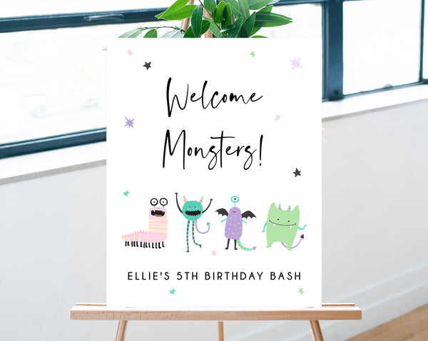 Monster Mash Birthday Welcome Sign Template, Printable Pastel Halloween Party Welcome Sign, Costume Party Welcome Sign, Templett