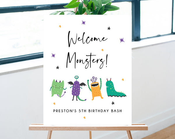 Monster Mash Birthday Welcome Sign Template, Printable Halloween Party Welcome Sign, Monsters Themed Welcome Sign, Templett