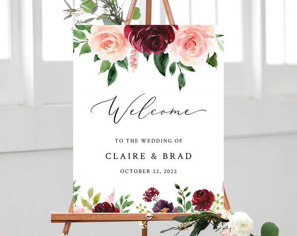 Burgundy & Blush Floral Wedding Welcome Sign Template, Welcome to the Wedding Printable, Welcome Board, Instant Download, Templett, W49