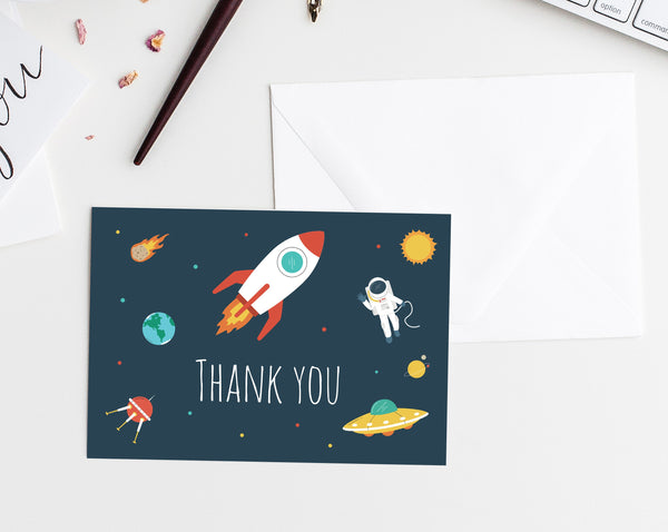Space Birthday Thank You Card Template, Printable Astronaut Birthday Thank You Tent Card, Instant Download, Templett