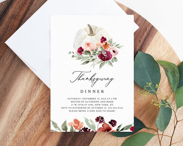 Thanksgiving Invitation Template, Printable Friendsgiving Potluck Invite, Editable Thanksgiving Invitation, Friendsgiving Dinner, Templett