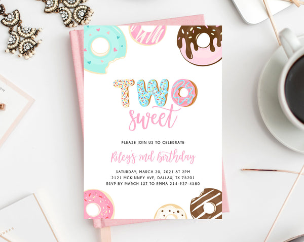 Two Sweet Birthday Invitation Template, Donut 2nd Birthday Party Invitation, Printable Donut Themed Invite, Instant Download, Templett