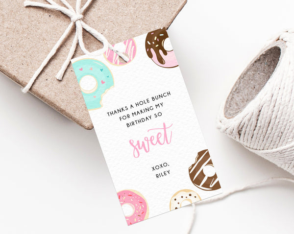 Two Sweet Birthday Favor Tag Template, Thank You Tag, Donut Birthday Party Favor Tag, Gift Tag, Editable Favor Label Printable, Templett
