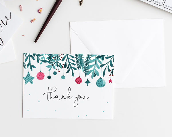 Christmas Thank You Card Template, Printable A Merry Little Baby Shower Thank You Tent Card, Instant Download, Templett