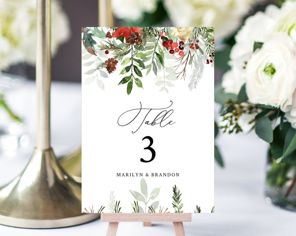 Christmas Wedding Table Number Template, Printable Winter Wedding Table Numbers, Holidays Table Numbers Card Template, Templett, W46
