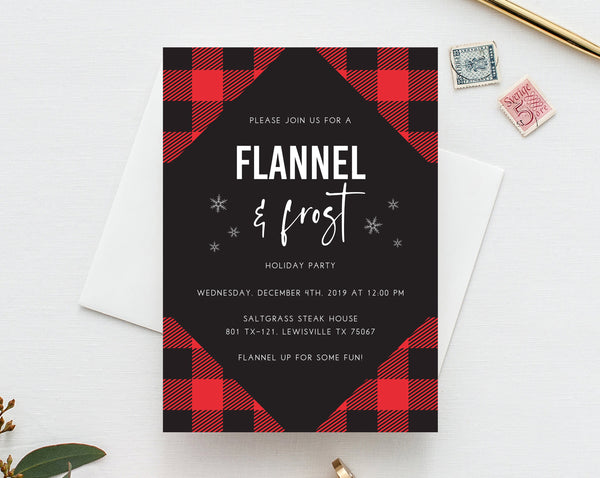 Flannel & Frost Christmas Party Invitation Template, Printable Flannel Holiday Party Invite, Buffalo Plaid Winter Party, Templett