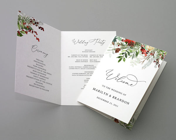 Bi-Fold Christmas Wedding Program Template, Printable Folded Wedding Program Booklet, Editable Winter Wedding Program, Templett, W46