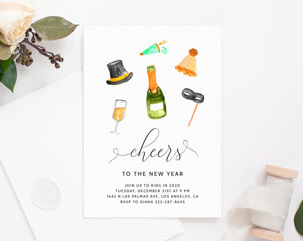 New Years Eve Party Invitation Template, New Years Invitation, Printable NYE Invite, Editable Party Invitations, Holidays, Templett