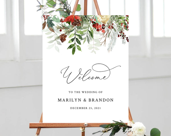 Winter Wedding Welcome Sign Template, Printable Watercolor Christmas Wedding Welcome Sign, Berries and Greenery, Templett, W46