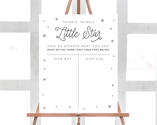 Little Star Gender Reveal Voting Sign Template, Twinkle Twinkle Little Star Voting Chart Printable, Silver Star Gender Reveal Game, Templett