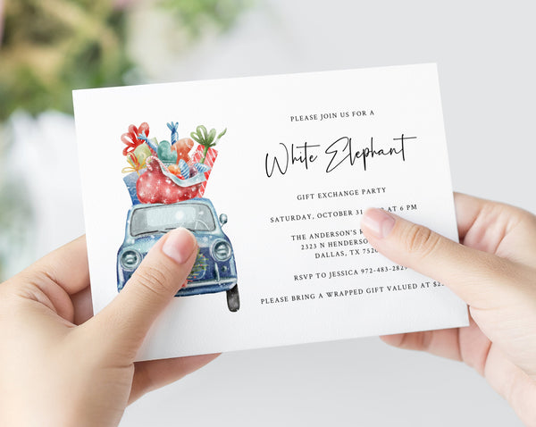 White Elephant Party Invitation Template, Christmas White Elephant Gift Exchange Invitation, Holiday Present Exchange Invite, Templett