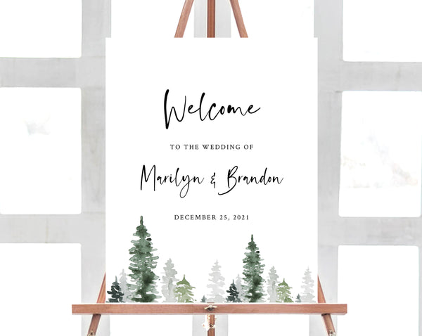 Pine Tree Wedding Welcome Sign Template, Winter Forest Welcome to the Wedding Printable, Welcome Board, Instant Download, Templett, W47