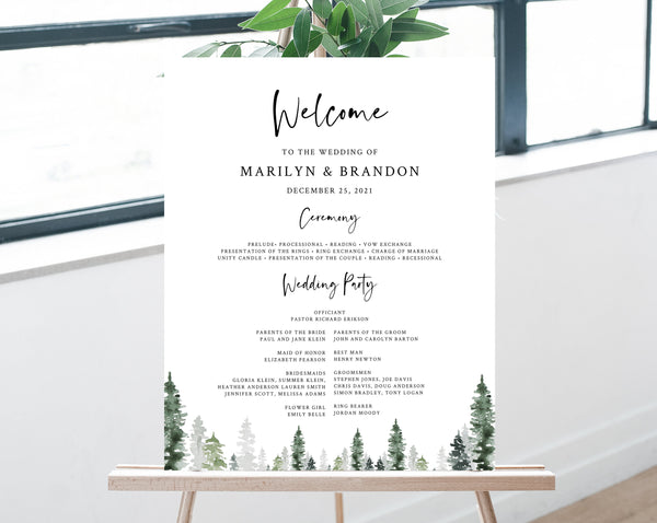Pine Tree Wedding Program Sign Template, Printable Forest Wedding Welcome Program, Order of Service, Wedding Party, Templett, W47