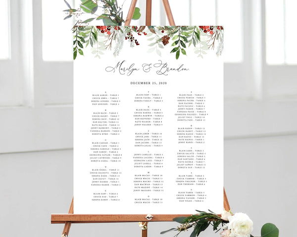 Winter Wedding Seating Chart Template, Alphabetical Seating Chart, Christmas Wedding Seating Board, Instant Download, Templett, W46