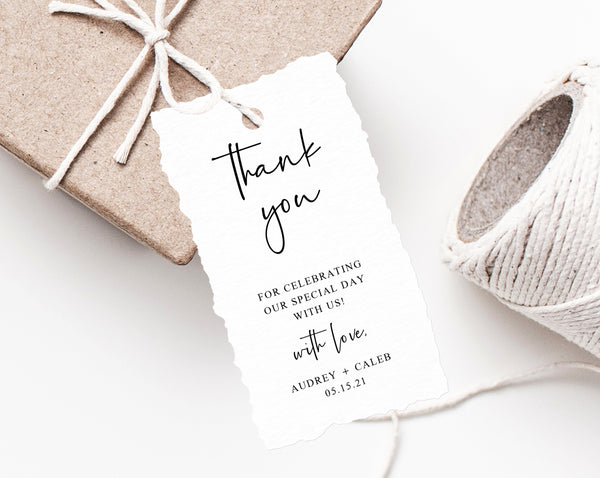 Wedding Favor Tags, Thank You Tag, Wedding Favor Tag, Simple Wedding Gift Tag, Favor Label, Favor Tag Printable, Templett, W50