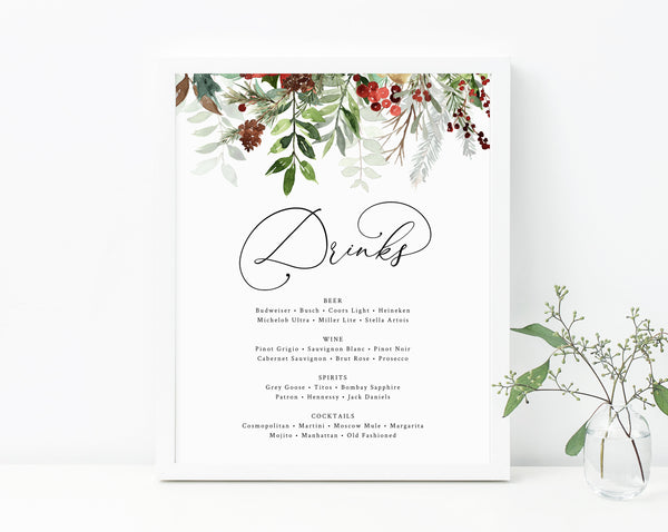 Winter Wedding Bar Menu Sign, Wedding Bar Sign, Wedding Christmas Wedding Drink Menu Sign, Drinks Sign, Reception Decor, Templett, W46