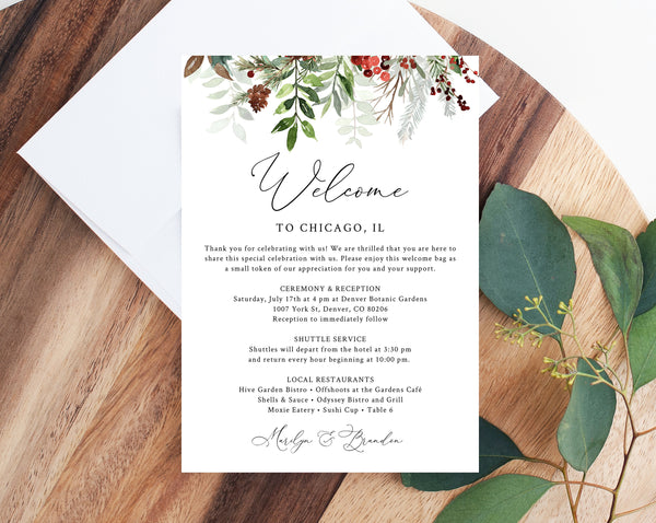 Welcome Letter Template, Christmas Wedding Itinerary Card, Welcome Bag Letter, Wedding Agenda, Printable Hotel Welcome Note, Templett, W46