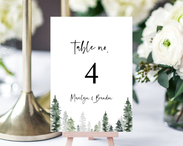 Pine Trees Wedding Table Number Template, Printable Winter Wedding Table Numbers, Forest Table Numbers Card Template, Templett, W47