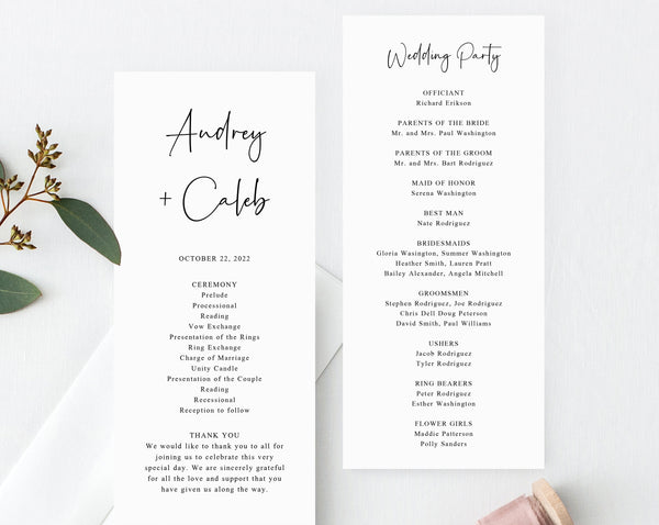 Wedding Program Template, Printable Wedding Program, Simple Wedding Program, Editable Ceremony Programs, Templett, W50