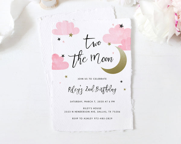 Two the Moon Invitation Template, Printable 2nd Birthday Invite, Moon Birthday Invitation, Instant Download, Templett