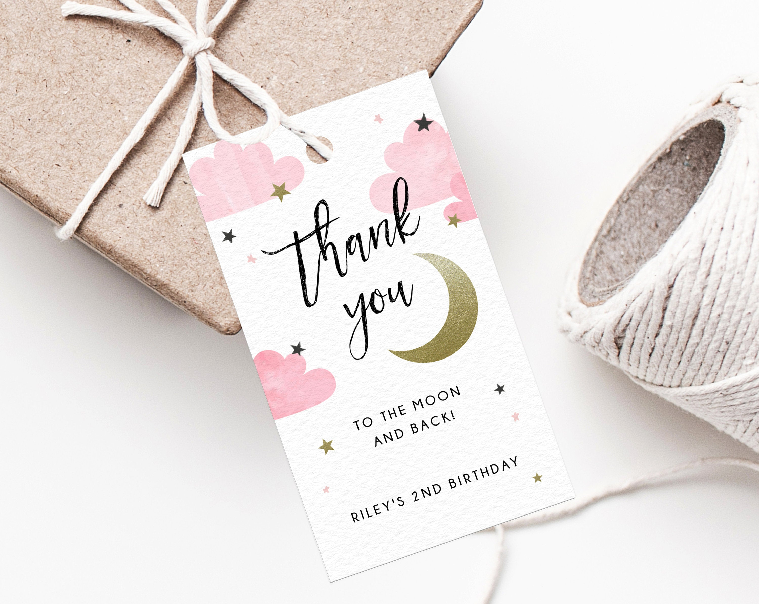 Two The Moon Favor Tag Template, Thank You To The Moon And Back Favor Tag, Gift Tag, Gold Moon Birthday Party Favor Label, Templett
