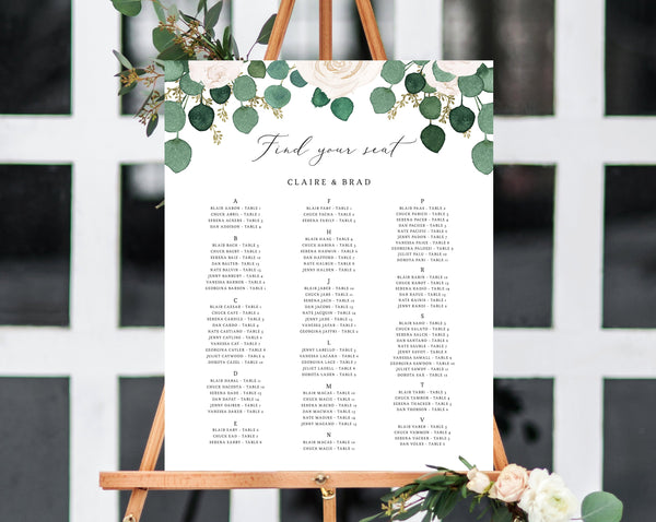 Wedding Seating Chart Template, Alphabetical Seating Chart, Greenery Wedding Seating Board, White Floral, Instant Download, Templett, W42