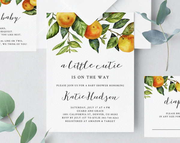 A Little Cutie Baby Shower Invitation Template, Printable Orange Baby Shower Invite, Cutie Clementine Baby Shower Invitation, Templett