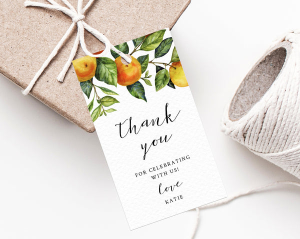 A Little Cutie Baby Shower Favor Tag Template, Printable Orange Thank You Tag, Clementine Favor Label, Mandrin Baby Shower, Templett