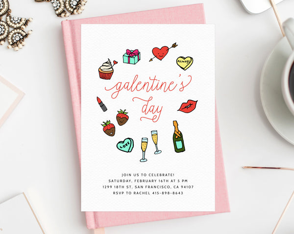 Galentine S Day Invite Template Printable Galentines Party Invitation Paperandthings