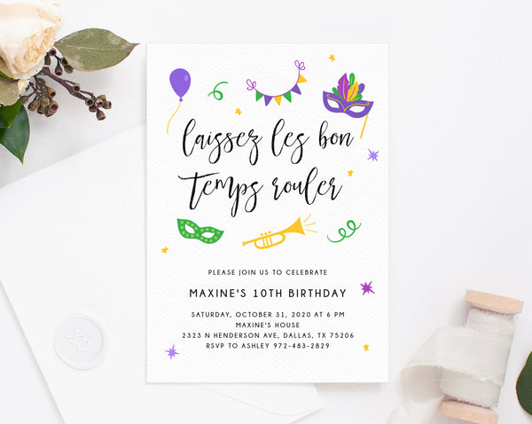 Mardi Gras Birthday Invitation Template, Printable Mardi Gras Theme Invitation, Carnival Themed Invite, Instant Download, Templett