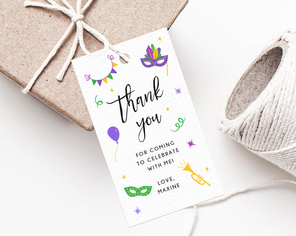 Mardi Gras Party Favor Tag Template, Mardi Gras Birthday Thank You Tag, Mardi Gras Themed Favor Tag, Gift Tag, Favor Label, Templett