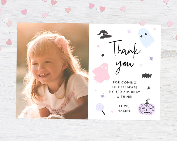 Pastel Halloween Thank You Card Template, Halloween Themed Thank You Photo Card, Halloween Birthday Card, Instant Download, Templett