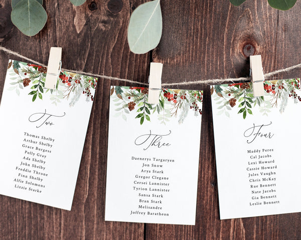 Wedding Seating Chart Template, Winter Seating Plan Cards, Christmas Wedding Table Card, Instant Download, Templett, W46