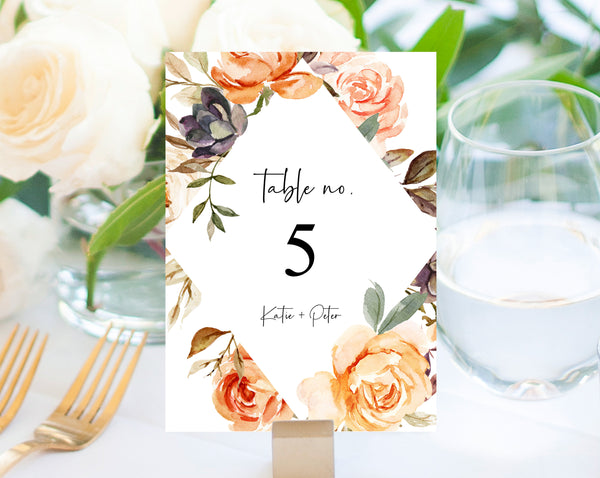 Rustic & Nude Floral Wedding Table Number Template, Printable Warm Golden Flower Wedding Table Numbers, Wedding Centerpiece, Templett, W51
