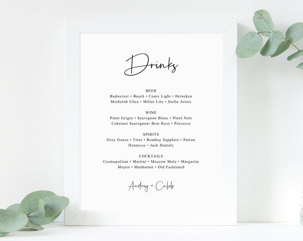 Wedding Bar Menu Sign Template, Editable Bar Sign, Wedding Bar Menu Printable, Drink Menu Sign, Drinks Sign, Reception Decor, Templett, W50