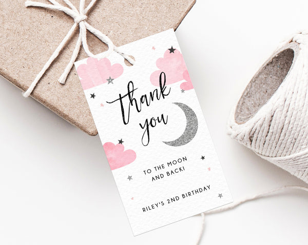 Two The Moon Favor Tag Template, Thank You To The Moon And Back Favor Tag, Gift Tag, Silver Moon Birthday Party Favor Label, Templett