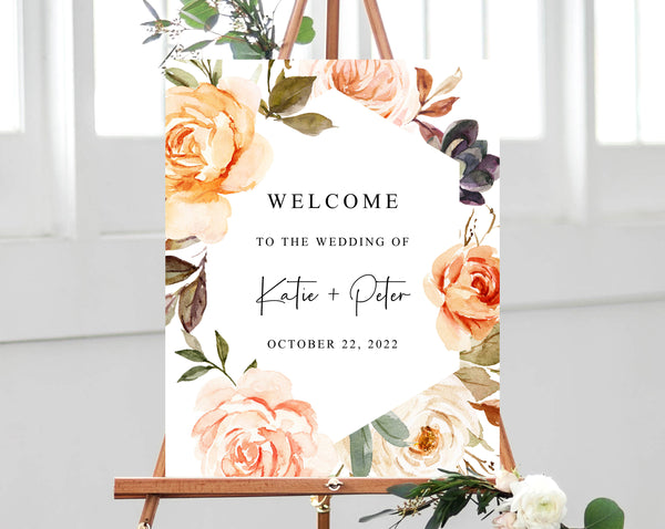 Warm Floral Wedding Welcome Sign Template, Welcome to the Wedding Printable, Rustic & Nude Welcome Board, Instant Download, Templett, W51