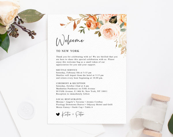 Rustic & Nude Welcome Letter Template, Wedding Itinerary Card, Welcome Bag Letter, Wedding Agenda, Printable Hotel Welcome Note, W51