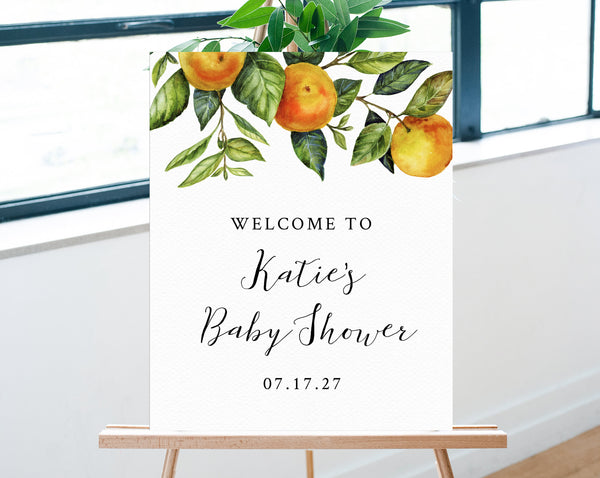 Little Cutie Baby Shower Welcome Sign Template, Printable Orange Clementine Baby Shower Welcome Sign, Mandrin Baby Shower, Templett