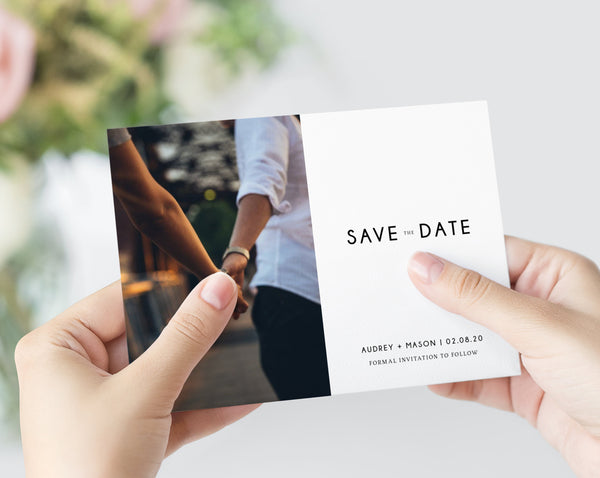 Save the Date Template, Save the Date with Pictures Template, Engagement Photo Save the Date Card, Instant Download, Templett, W25