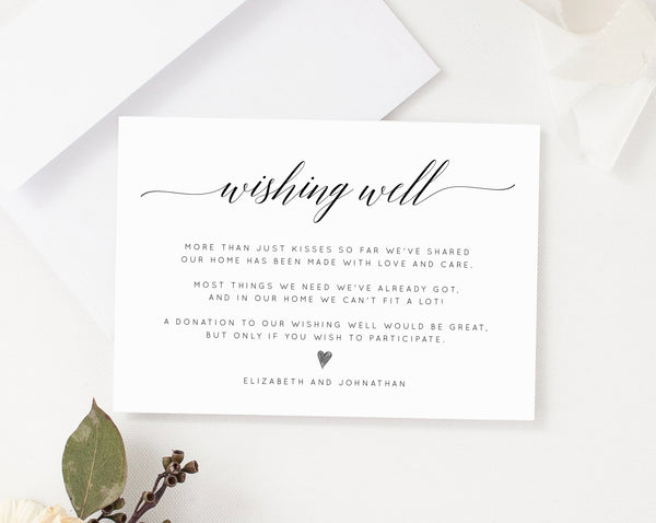 Wishing Well Card Template, Printable Wedding Wishing Well Insert, In Lieu of Gifts Card, Wedding Fund, Templett, W02