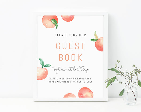 Peach Birthday Guest Book Sign Template, Printable Advice and Wishes Sign, Little Peach Themed Birthday Signs, Instant Download, Templett