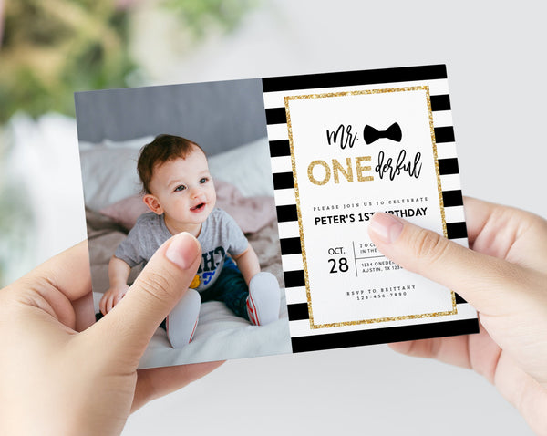 Onederful Photo Invitation Template, Mr. Onederful Invitations, Mister One-derful, Baby Boy Birthday, First Birthday Invite, Templett, B02