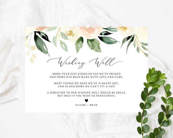 Wishing Well Card Template, Printable Peach Blush Wedding Wishing Well Insert, In Lieu of Gifts Card, Wedding Fund, Templett, W41